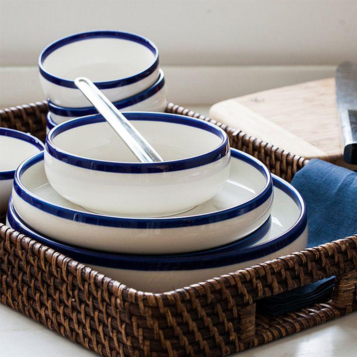 20 шт./компл. chinabone синий край Керамический шар тарелки наборы посуды посуда чаша для риса блюда салат чаша пластины фруктовый лоток