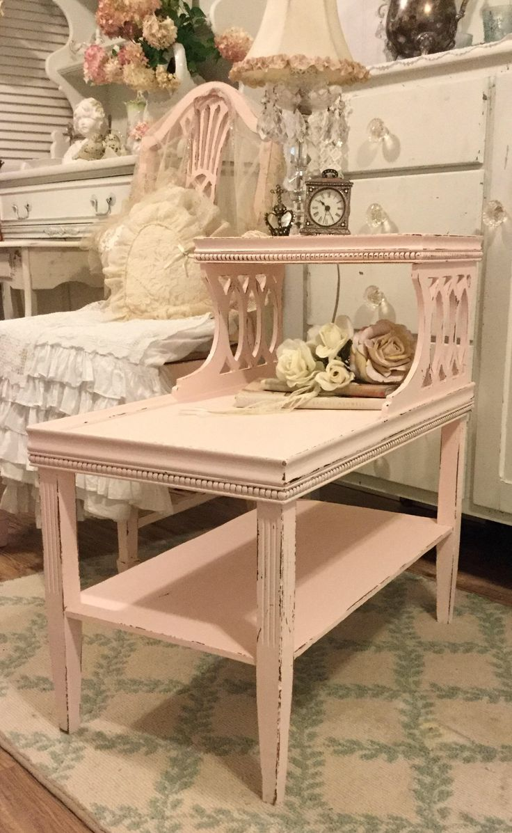 Shabby Pink Nightstand, Bedside table, End Table, Stand, Accent Table, Chippy distressed, shabby Cottage Chic, bedroom table, fanny by FannyPippin on Etsy https://www.etsy.com/listing/542548922/shabby-pink-nightstand-bedside-table-end