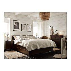 BRUSALI ベッドフレーム 収納ボックス4個付き, ブラウン, ルーローイ - 140x200 cm - IKEA