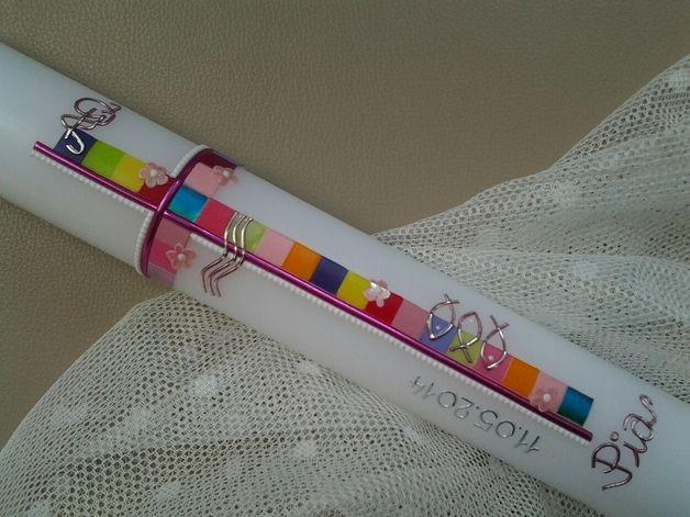 Kommunionkerzen - 40x4 cm Kommunionkerze / Mosaik ¨Mädl Classic 1¨ - ein Designerstück von arte-maria bei DaWanda