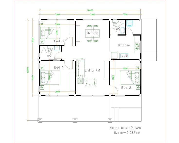 House Design 10x10 With 3 Bedrooms Full Interior House Plans 3d Unique House Plans Small House Design Small House Design Plans House floor plan names