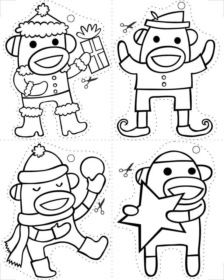 Sock Monkey Christmas Coloring Pages
