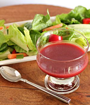 Copycat Kraft Raspberry Vinaigrette | AllFreeCopycatRecipes.com--Use sugar free raspberry jam and you can reduce the carbs without compromising the flavor.  Remember, dressing should enhance the flavor of your salad, not drown it out altogether!