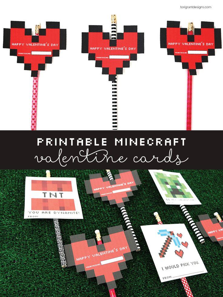Printable Minecraft Valentine's Day Cards   Tori Grant Designs