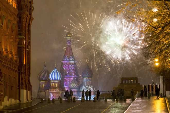 How The World Welcomed 2017  Fireworks explode over the Kremlin in Red Square which was blocked by police during New Year celebrations in Moscow, Russia. New Year's Eve is Russia's major gift-giving holiday, and big Russian cities were awash in festive lights and decorations.