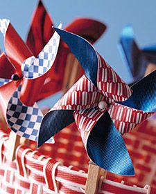 Clothespin Pinwheel by marthastewart: Clip them to anything for a patriotic spin! #Pinwheel #marthastewart