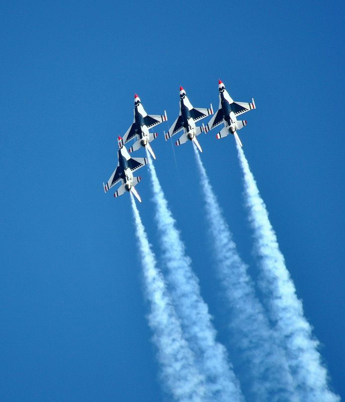 Us Air Force Thunderbirds Fly Over Their Home Base Nellis Afb In Las Vegas Nevada