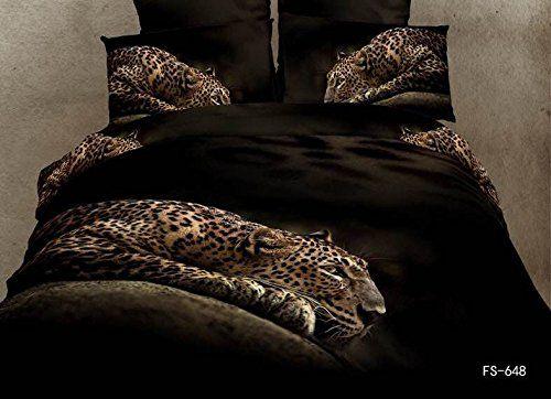Newrara 3d Bed Sheet Set 3d Black Leopard Print Bedding Sets,unique Black Panther Cheetah Print Duvet Cover, Queen Size (4pcs (not include comforter))