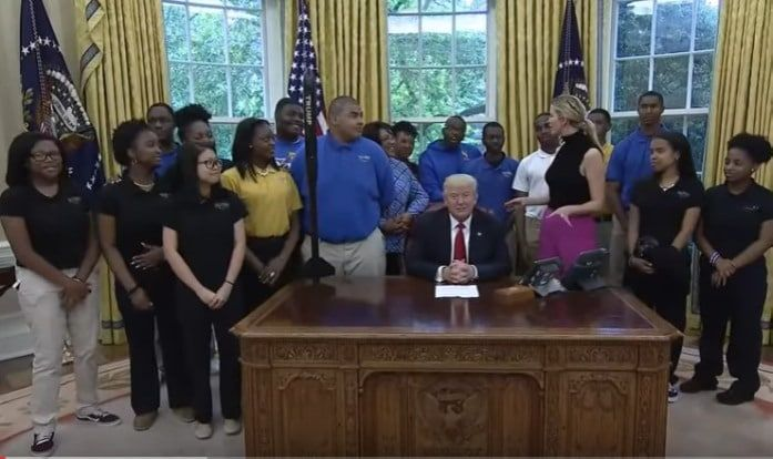 """Students from the Victory Christian Center School in North Carolina visited the White House this week because they won a competition to design a rocket. They named the rocket after Trump for a funny reason, too. Real Clear Politics reports: Student To Trump: We Named Model Rocket """"Trump"""" Because..."""