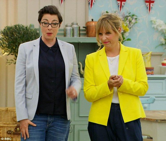 Sue Perkins, left, seen last night on Great British Bake Off ake off for first time since she revealed her medical condition with her co-presenter Mel Giedroyc. Great British Bake Off is pre-recorded.