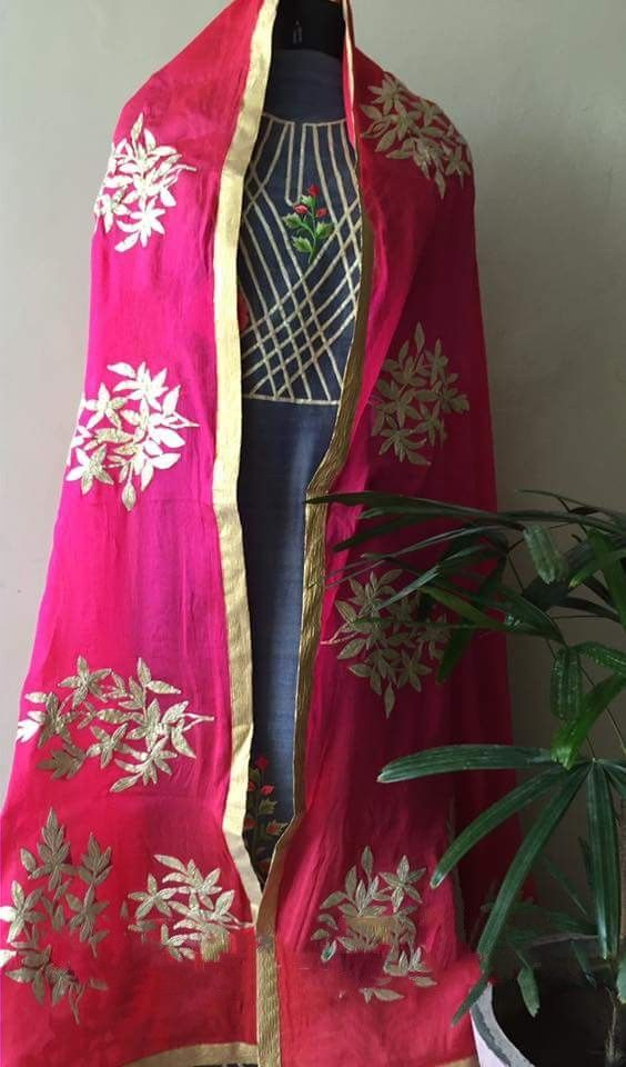 Machine Embroidered Cotton Silk Suit in Grey and Pink Color