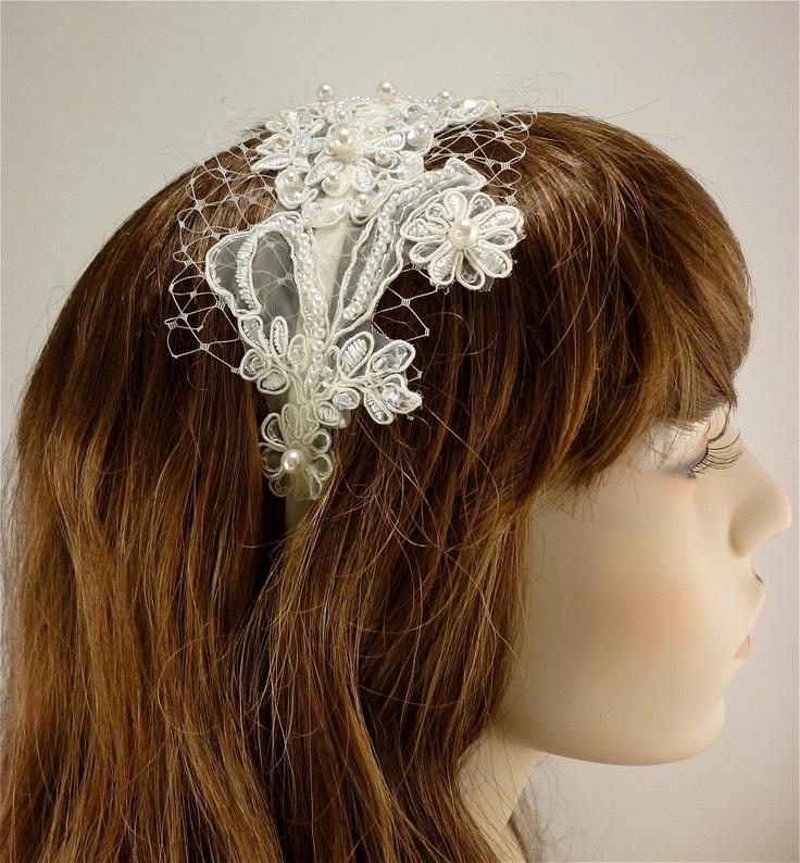 Wedding Headband, Ivory Lace Headband, Bridal Headband, Bridal Accessory, Swarovski Crystals, Swarovski Pearls