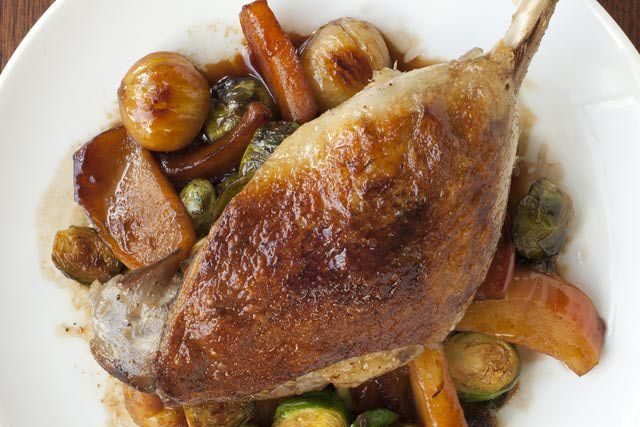 Crispy Duck Legs with Sweet and Sour Apricot Sauce