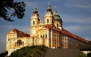 Melk Abbey or Stift Melk[1] is an Austrian Benedictine abbey, and one of the world's most famous monastic sites. It is located above the town of Melk on a rocky outcrop overlooking the river Danube in Lower Austria, adjoining the Wachau valley.