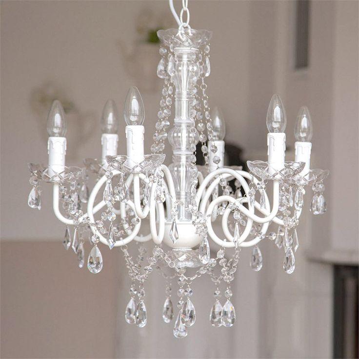 Kronleuchter white chalet weiss glänzend 6 armig metall mit kristallen landhaus möbel wohnen