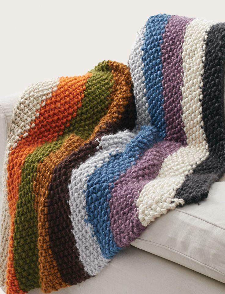 Bernat Seed Stitch Blanket - Cozy chunky rainbow striped knit blanket - FREE pattern on Yarnspirations.com (hva)