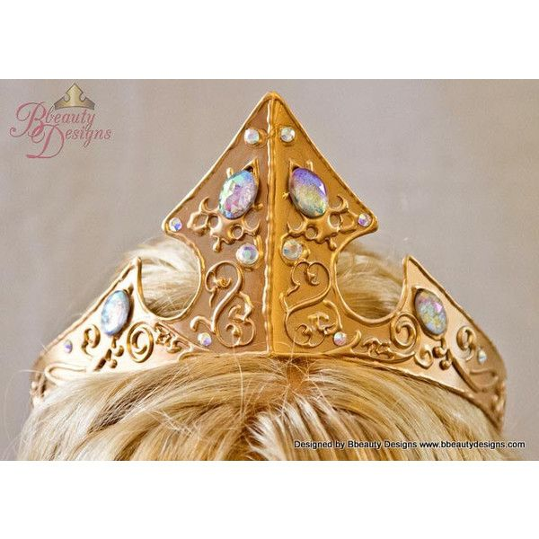 Sleeping Beauty Adult Costume 2013 Styled Metal Crown Swirl... ($175) ❤ liked on Polyvore featuring accessories, hair accessories, metal hair accessories and metal crown