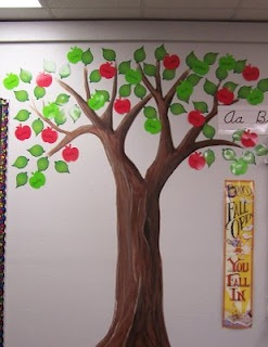 Birthday apple tree mural instead of cupcake chart or for Apple tree classroom decoration