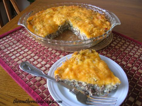 CHEESY HAMBURGER PIE ~ This is an easy way to use hamburger and a few cheese choices.  Just add a salad and you have a meal. Easy, filling, and good!