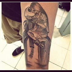 Jack and sally kiss tattoo nightmare before christmas for Jack skellington and sally tattoos