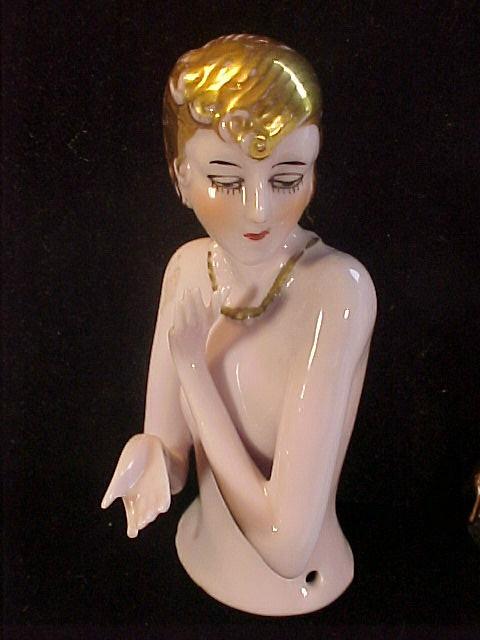 VINTAGE HALF DOLL 4 FLAPPER ARMS AWAY ART NOVEAU DECO GOLD HAIR NECKLACE 9001 | eBay