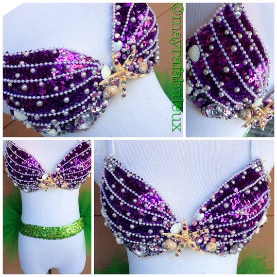 Ariel The Little Mermaid Inspired Rave Bra  by mayrafabuleux, $60.00