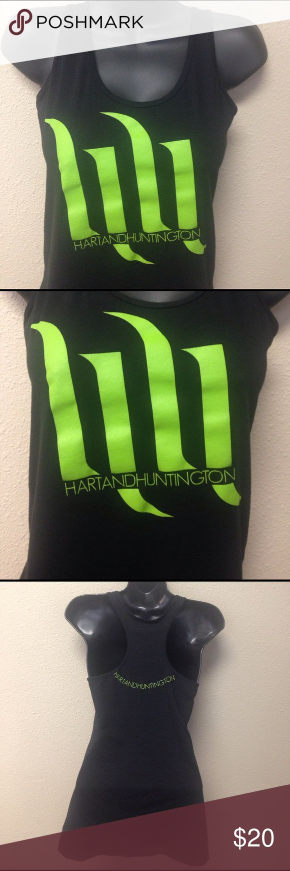 Hart and Huntington Black Logo Tank Top Excellent condition.  Worn once.  Racerback slim fitting style. Tag says large but I'm listing as a medium because it would best fit a medium. Hart and Huntington Tops Tank Tops