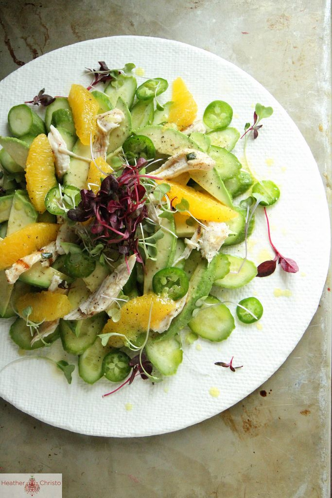 Cucumber, avocado, chicken and orange salad