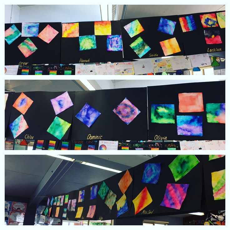 Bleeding ink art linked science unit in absorption. Textas coloured on paper towel then painted with water. Year 4 aces it!!