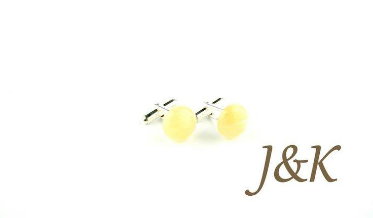 Spinki do mankietów Awenturyn miodowy srebrne w J&K Art - wyjątkowe spinki do mankietów na DaWanda.com