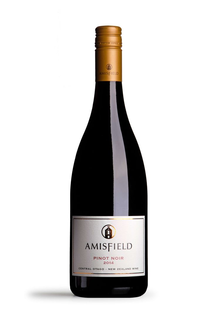 "Amisfield Pinot Noir 2014 ""An appealing ruby hue, sweet aromatics of black cherries with a botanic note and a hint of cinnamon. The palate is broad, complex and lush with dark chocolate characters and gripping tannins on the finish""."