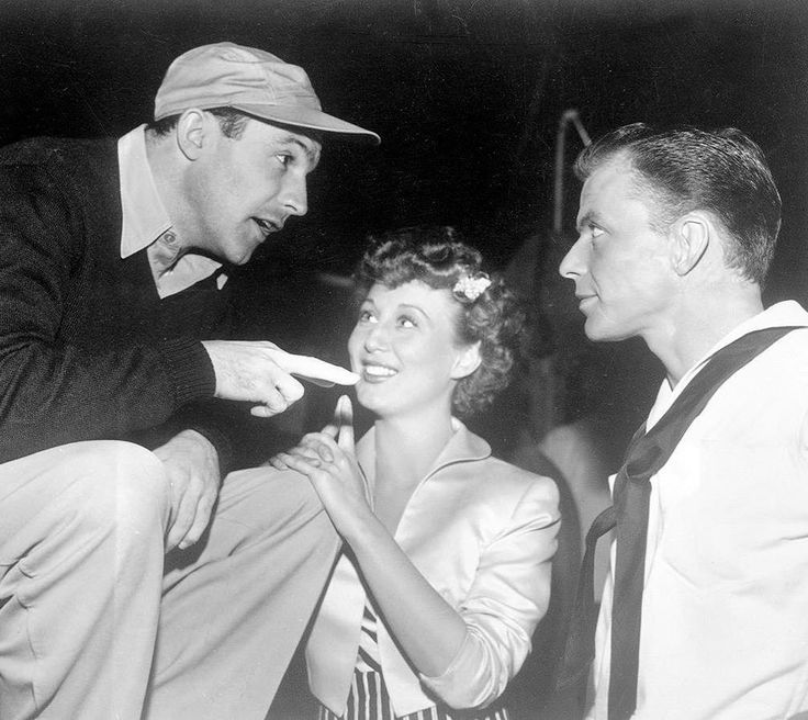 "Gene Kelly, Betty Garrett, and Frank Sinatra on the set of ""On the Town."""
