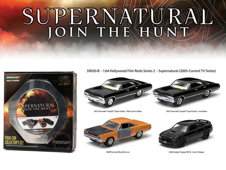 """Hollywood Film Reels Series 2 """"Supernatural"""" 4 Cars Pack (2005 Current TV Series ) 1/64 Diecast Car Models by Greenlight - Brand new 1:64 scale car model of Hollywood Film Reels Series 2 """"Supernatural"""" 4 Cars Pack (2005 Current TV Series ) die cast car model by Greenlight. Limited Edition. Serialized. Officially Licensed Product. New decoration!. Chrome accents. Protective foam insert. Special """"Movie Tin"""" casing with custom movie packaging. Green machines. Limited edition. True-to-scale…"""
