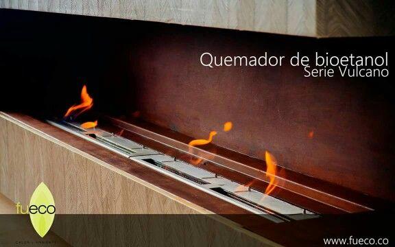 Quemadores #Fueco  serie Vulcano  empotrados en nichos de hierro oxidado.