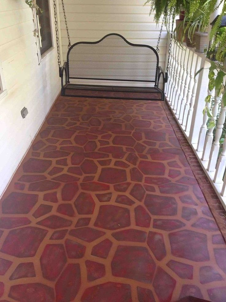Painted Concrete Porch With A Stone Stencil Stains