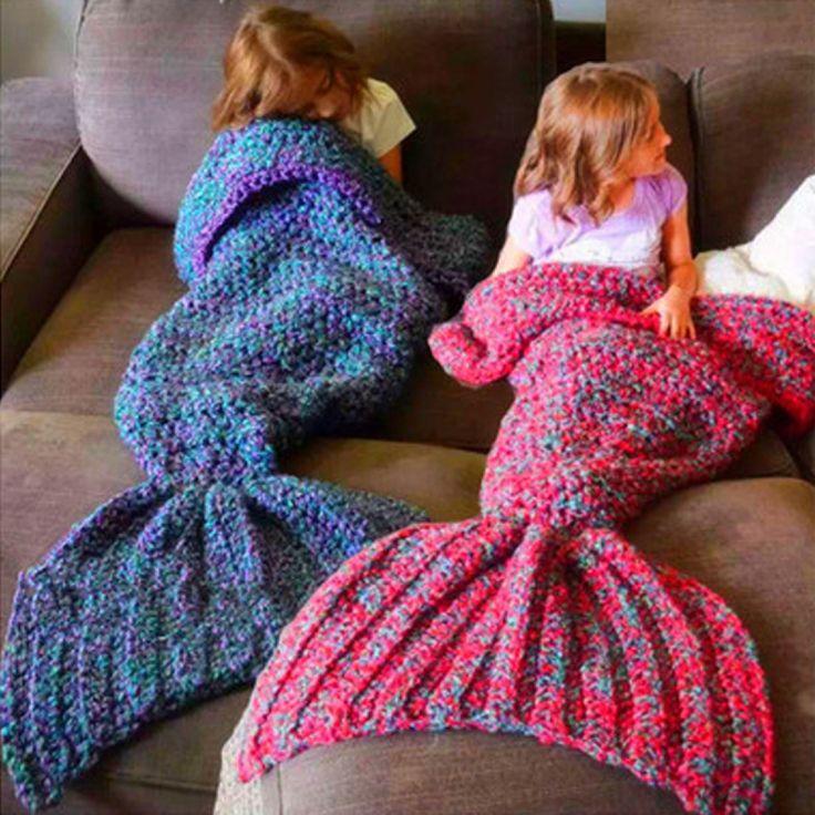 Warm Blue/Red Handmade Mermaid Blanket