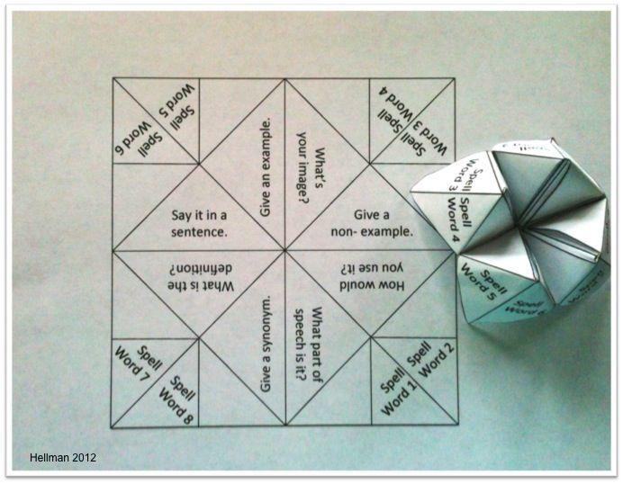 Fortune teller vocabulary activity