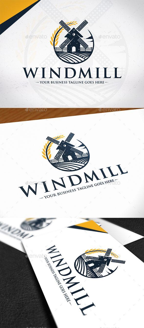 Wind Mill Logo Template — Photoshop PSD #eco #farm • Download ➝ graphicriv...