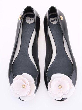 Mel - Černé plastové balerínky s květinou  Pop VIII - 1