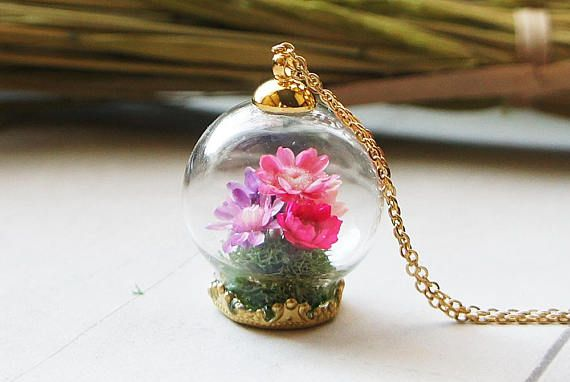 Pink Flower Terrarium necklace Bouquet necklace Flower