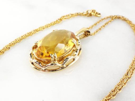 Citrine Necklace Gold Toned Pendant