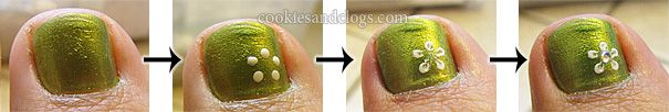 Flower Design Nail Art Tutorial with Polish and Gem