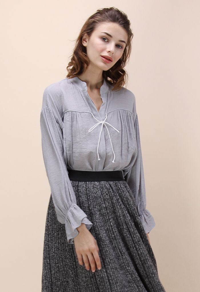 Easy Mind Smock Top in Grey - Tops - Retro, Indie and Unique Fashion