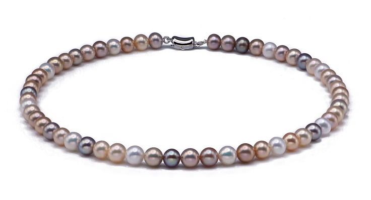 This exquisite 7.5-8.5mm necklace is strung with high quality Freshwater Pearls. Each of the pearls in this strand has been carefully selected for their natural metallic colours. This is one of our ultimate Freshwater Pearl collections for their unique metallic colours with extreme high luster and unblemished surface. Pearls in this strand feature with a variety of natural metallic colours: pink, lavender, brown, rose, silver, and a lot of other exotic colours which are difficult to define.