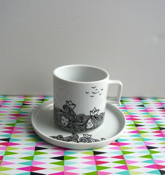 Handpainted coffee cup by Hellicopter @ DaWanda: Déco Porcelaine, Coffee Cups, Coff Cups, Handpaint Coffee