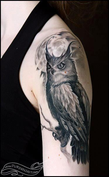 Great Horned Owl Black And Grey Tattoo Moon tattoos, Tattoos ...