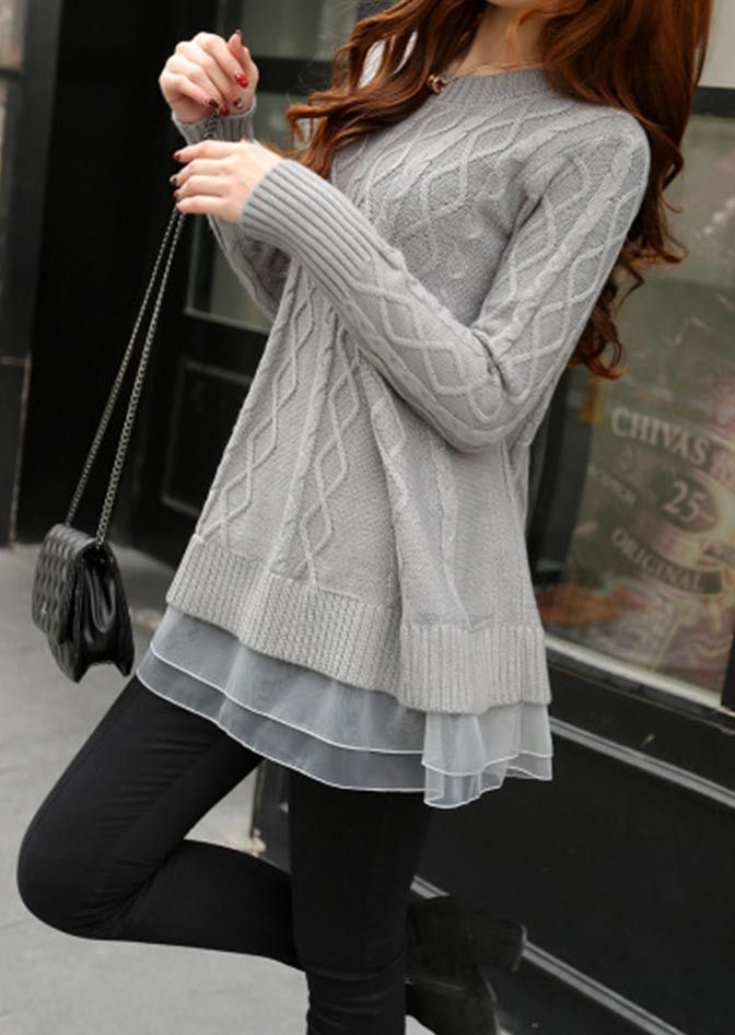 I love the extra flow at the bottom of this sweater.  Perfect for leggings or jeans.   Nice To Meet You Organza Knit Sweater