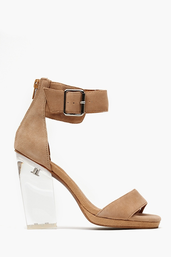 loooooove. (bad pic. another thing about pinterest I don't get) Soiree Platform - Taupe Suede in Shoes Translucence at Nasty Gal