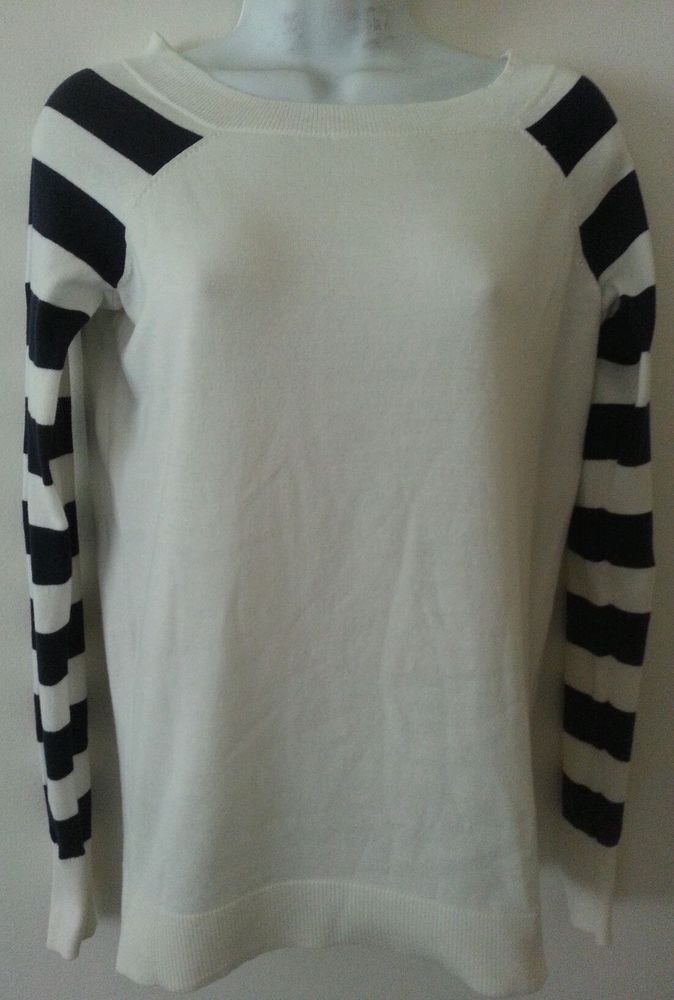 OUTBACK RED Women's White/Blue Striped Long Sleeves Scoop Neck Cotton Sweater S #OutbackRed #ScoopNeck