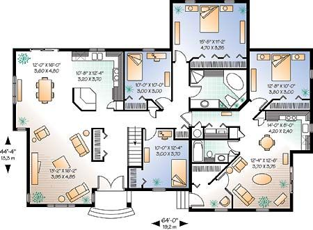 Plan 1225 3 bedroom Quad level home American Design
